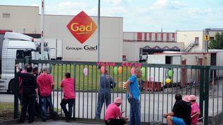 Des employés de Gad bloquent l'entrée du site de Josselin (Morbihan), le 8 octobre 2013, pour protester contre le plan social de l'entreprise Gad. (FRED TANNEAU / AFP)