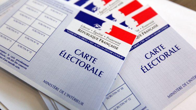 Des cartes d'électeur sont inspectées dans un bureau de vote de Lille (Nord), à l'occasion du premier tour des élections municipales, le 23 mars 2014. (THIERRY THOREL / CITIZENSIDE)