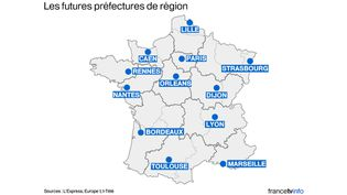 """""""L'Express"""", I-Télé et Europe 1 ont dévoilé, le 13 avril 2015, la carte des futures chefs-lieux de régions retenus par le gouvernement. (FRANCETV INFO)"""
