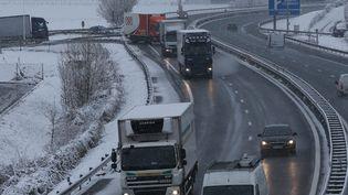 La circulation des poids lourdsa été perturbée par la neige, sur l'A48, en Isère, mardi 20 janvier 2015. (MAXPPP)