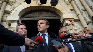 Emmanuel Macron à Montmorillon (Vienne), le 28 avril 2017. (GUILLAUME SOUVANT / AFP)