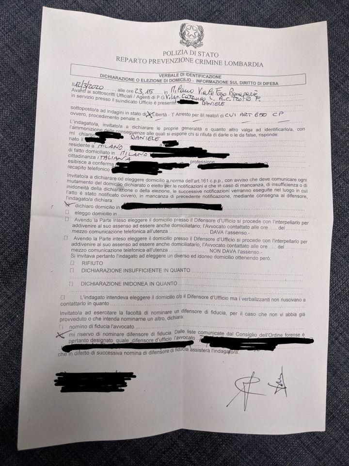 Extrait d'un procès verbal dressé contre un habitant de Milan (Italie), le 12 mars 2020, pour non-respect des consignes de confinement. (FRANCEINFO)