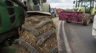 Des tracteurs bloquent une route nationale lors d'une précédente manifestation d'agriculteurs en Haute-Saône, le 29 janvier 2016 à Vesoul. (SEBASTIEN BOZON / AFP)