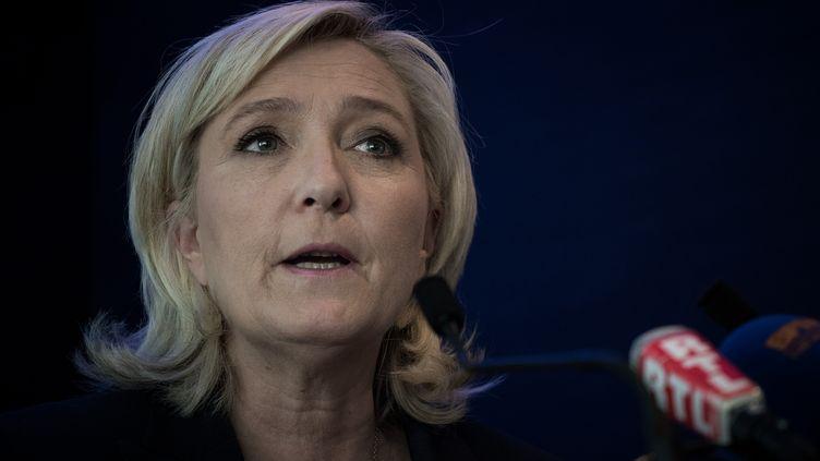 La présidente du Front national Marine le Pen à Paris, le 17 mai 2016. (PHILIPPE LOPEZ / AFP)