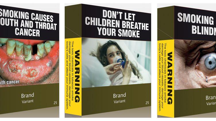 Exemple de paquets de cigarettes qui seront utilisés en Australie à partir de décembre 2013. (AUSTRALIAN GOVERNMENT / REUTERS)