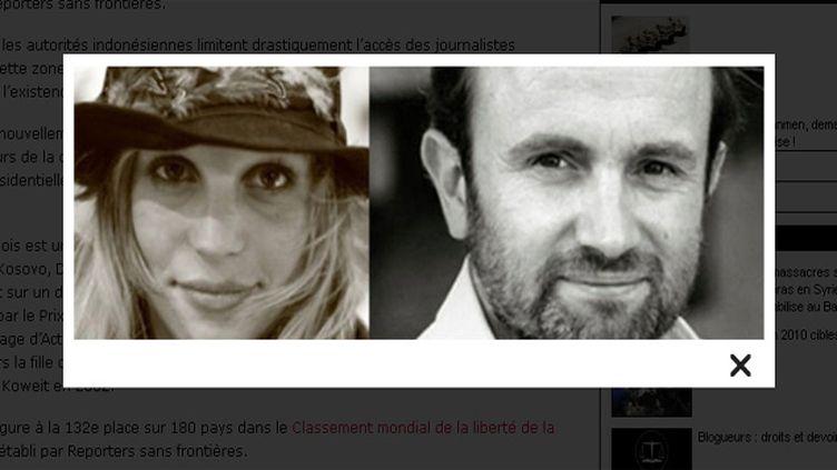 (Thomas Dandois et Valentine Bourrat réalisaient pour Arte © Capture d'écran Reporters sans frontières)