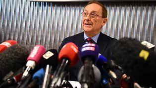 Le président de la Fédération française des sports de glace, Didier Gailhaguet, lors d'une conférence de presse à Paris, le 5 février 2020. (FRANCK FIFE / AFP)