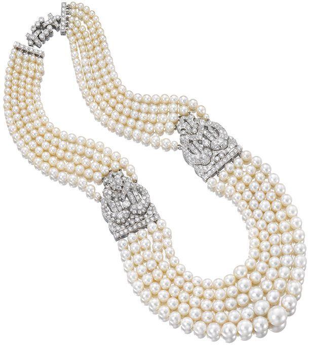 Collier 5 rangs, Cartier, France, 1930-40, platinum, diamants et perles  (Sotheby's)
