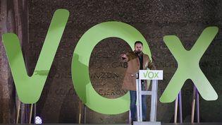 Santiago Abascal, le leader du parti Vox, le 10 novembre. (PIERRE-PHILIPPE MARCOU / AFP)