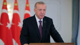 Le président turcRecep Tayyip Erdogan, le 21 octobre 2021 à Istanbul. (MURAT KULA / ANADOLU AGENCY)