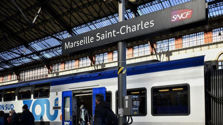 La gare de Marseille Saint-Charles (Bouches-du-Rhône), le 3 février 2021. (MAGALI COHEN / HANS LUCAS / AFP)