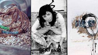 La créatrice Katia Grisanzio pose au milieu de ses créations en pierres précieuses et d'une de ses toiles  (DR)