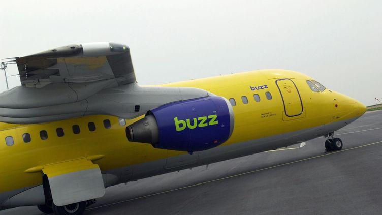 Un avion de la compagnie Buzz, à l'aéroport de Caen (Calvados), en 2002. (MYCHELE DANIAU / AFP)