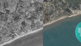 La plage de Vias (Hérault), sur des photos prisesentre 1950 et 1965, puis entre 2006 et 2010. (IGN.FR)