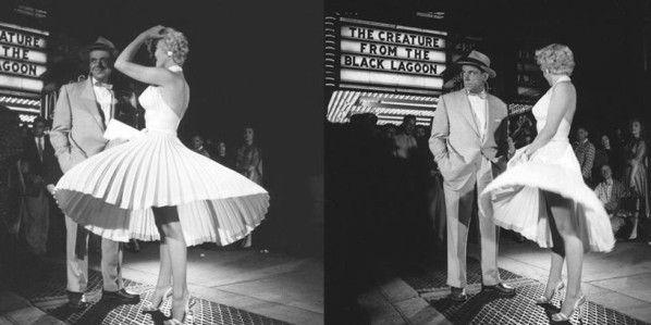 """Marilyn Monroe et Tom Ewell dans """"Sept ans de réflexion"""" de Billy Wilder, avec le titre """"Creature from the Black Lagoon"""" ('""""La créature du lac Noir"""") en second plan.  (20th Century Fox)"""
