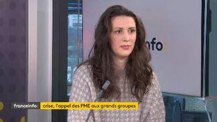 Clémentine Parâtre, vice-présidente du Centre des jeunes dirigeants d'entreprises était l'invitée éco de franceinfo jeudi 12 mars (FRANCEINFO / RADIOFRANCE)