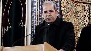 Le président du CFCM Mohammed Moussaoui lors d'un hommage aux victimes des attentats de Christchurch (Nouvelle-Zélande), à la Grande mosquée de Paris, le 22 mars 2019. (MAXPPP)