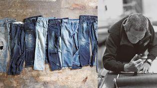 Jeans japonais produits à Kojima (à gauche) + homme travaillant dans une usine dans la région de Kurashiki  (DR)