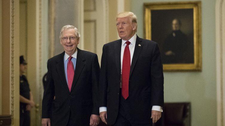 L'ex-président américain Donald Trump et le leader des républicains au Sénat Mitch McConnell, le 23 octobre 2012, à Washington (Etats-Unis). (DREW ANGERER / GETTY IMAGES NORTH AMERICA / AFP)