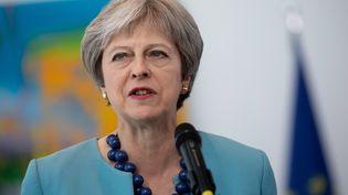 La Première ministre britannique, Theresa May, lors d'une déclaration à Berlin, en Allemagne, le 5 juillet 2018. (KAY NIETFELD / DPA / AFP)
