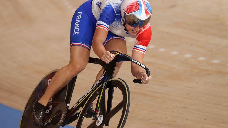 La Française Mathilde Gros sur le vélodrome des Jeux olympiques de Tokyo, le 3 août 2021. (AGENCE KMSP / KMSP / AFP)