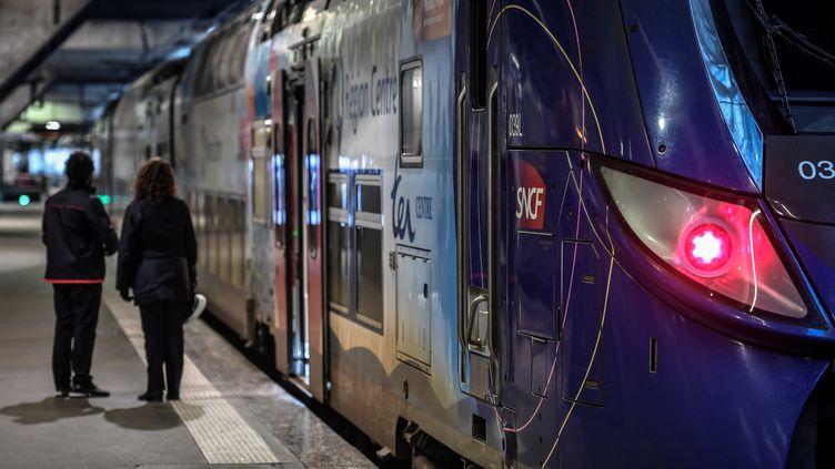 Un TER à quai, à la gare Montparnasse, le 2 janvier 2020. (STEPHANE DE SAKUTIN / AFP)