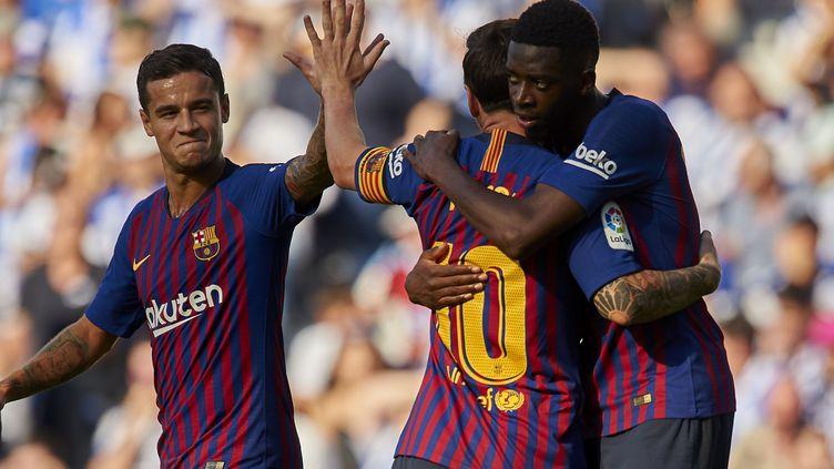 Messi félicite Ousmane Dembelé (Barcelone) (JOSE BRETON / NURPHOTO)