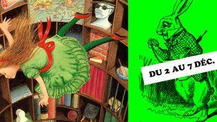 Alice par Antony Browne (à gauche) et par John Tenniel, pour l'affiche du salon du livre Juenesse de Montreuil  (Antony Browne et John Tenniel)