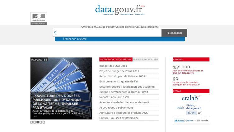 Le site data.gouv.fr a été ouvert le 5 décembre 2011. (CAPTURE D'ECRAN)