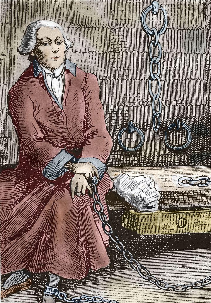 """""""Portrait présumé de l'aristocrate, écrivain et libertin Donatien Alphonse François Marquis de Sade (1740-1814) dans sa prison"""". Gravure du 19e siècle. (LEEMAGE / AFP)"""