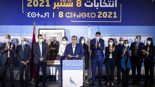 Le président du Rassemblement national des indépendants (RNI) du Maroc, Aziz Akhannouch, donne une conférence de presse dans la capitale Rabat, après que son parti est arrivé en tête des élections législatives et locales, le 9 septembre 2021. (FADEL SENNA / AFP)