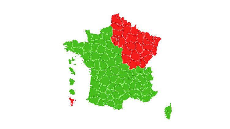 La carte de France du déconfinement pour le 11 mai 2020. (FRANCEINFO)