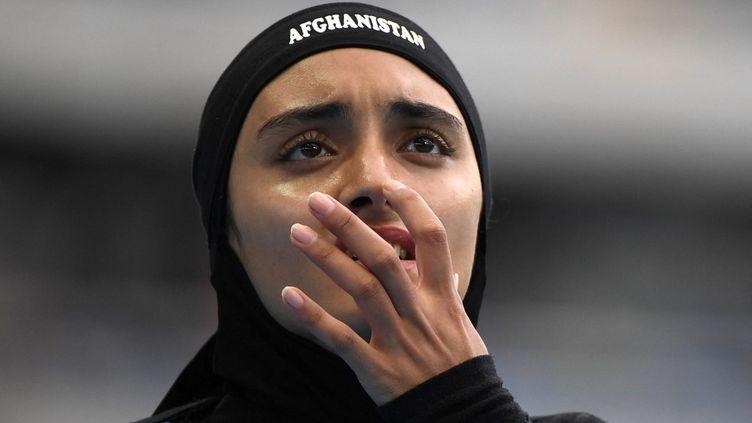 Kamia Yousufi lors du 100 m femmes aux Jeux olympiques de Rio. (OLIVIER MORIN / AFP)