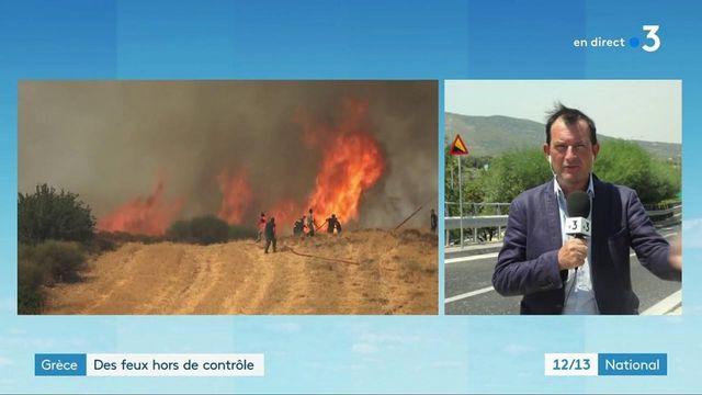 Incendies en Grèce : le vent complique la tâche des pompiers