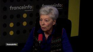 La présidente de la Cimade, Geneviève Jacquesdans le studio de franceinfo, le 23 avril 2018. (FRANCEINFO / RADIOFRANCE)