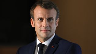 Emmanuel Macron le 10 octobre 2019 à Lyon. (LUDOVIC MARIN / AFP)