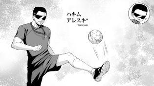 Illustration d'Hakim Arezki, joueur de cécifoot ou football à cinq, qui participera à ses deuxièmes Jeux paralympiques à Tokyo. (Eternal-S)