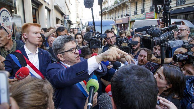 Jean-Luc Mélenchon de La France Insoumise en colère après les perquisitions dans les locaux de son parti à Paris, ainsi qu'à son propre domicile. le 16 octobre 2018. (CHRISTOPHE PETIT TESSON / EPA)