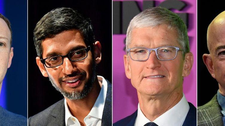 Les patrons de Facebook, Google, Apple et Amazon. (BERTRAND GUAY / AFP)