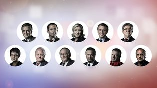 Les onze candidats à l'élection présidentielle 2017 : François Fillon, Benoît Hamon, Marine Le Pen, Emmanuel Macron, Jean-Luc Mélenchon, Nathalie Arthaud, François Asselineau, Jacques Cheminade, Nicolas Dupont-Aignan, Jean Lassalle et Philippe Poutou. (AFP / FRANCEINFO)