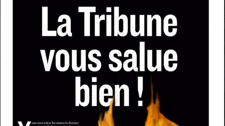 """Capture d'écran de la une de """"La Tribune"""" du 30 janvier 2012, dernière édition papier du quotidien économique. (FTVi)"""