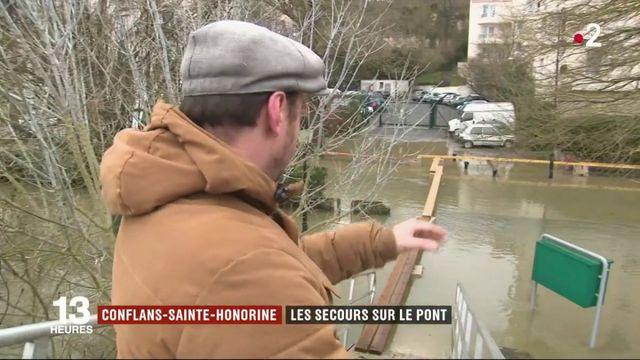 Inondations à Conflans-Sainte-Honorine : les secours sur le pont