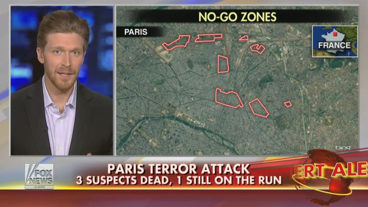 """L'""""expert"""" Nolan Petersen intervient, le 10 janvier 2015, sur la chaîne américaine Fox News, où il évoque l'existence de zones interdites aux non-musulmans en plein Paris. (FOX NEWS)"""