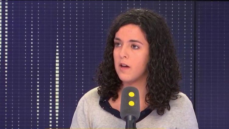 Manon Aubry, tête de liste de La France insoumise aux élections européennes, invitée le 7 février 2019 de franceinfo. (FRANCEINFO / RADIOFRANCE)