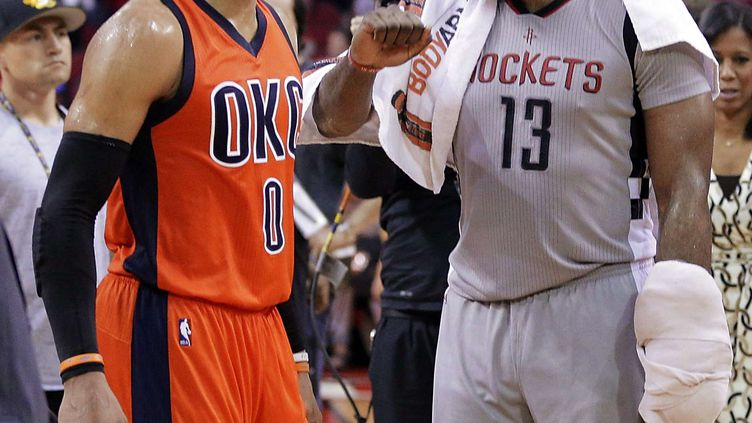Russell Westbrook et James Harden (MICHAEL WYKE/AP/SIPA / AP)