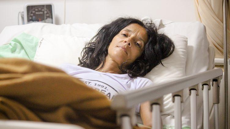 Claivia Merchi, la Française blessée dans le séisme de Gili Trawangan, près de Lombok en Indonésie, le 11 août 2018. (JOEL BRONNER/FRANCEINFO)