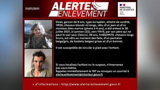 L'alerte enlèvement pour Dewi a été déclenchée samedi 31 juillet. (MINISTERE DE LA JUSTICE)