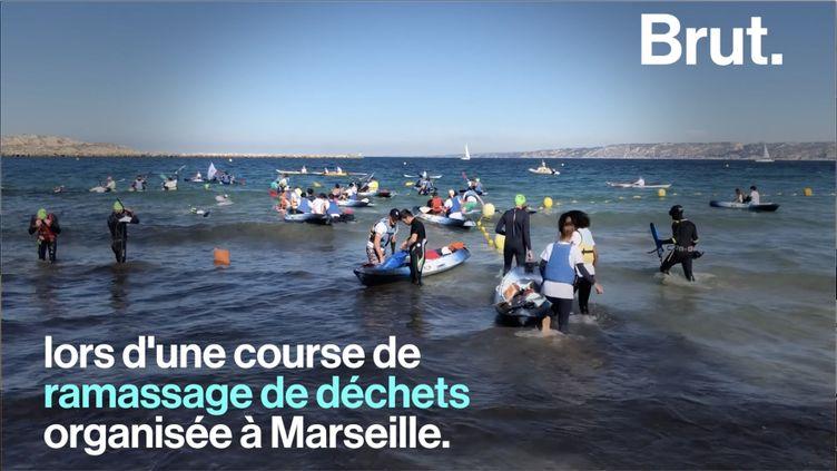 """La première édition du """"Grand Défi"""" a été lancée. La compétition a réuni une centaine de candidats prêts à nettoyer les fonds marins marseillais. (BRUT)"""