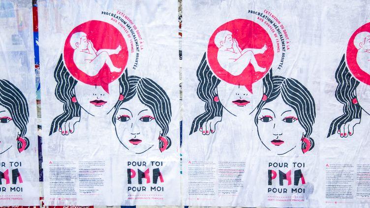 Des affiches du Parti communiste français (PCF) pour l'extention du droit à la procréation médicalement assistée (PMA) aux couples de femmes, le 28 juin 2017 à Rennes (Ille-et-Vilaine). (MARTIN BERTRAND / AFP)