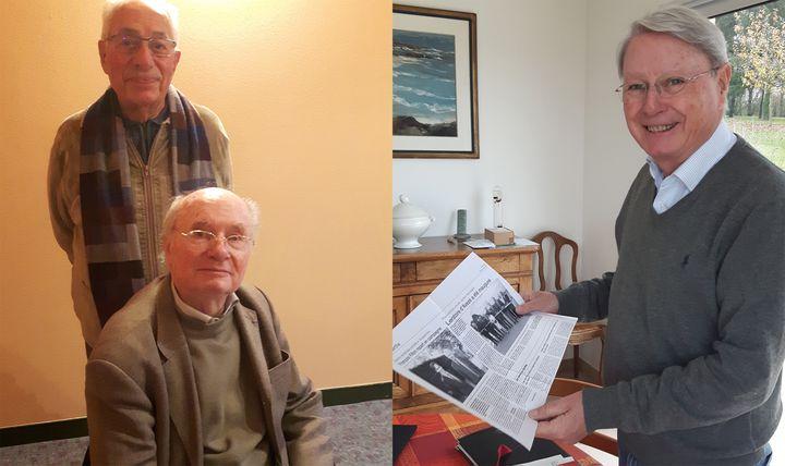 Photomontage. A gauche, Jean-Marie Tissot et Pierre Huault, qui ont lancé François Fillon en politique. A droite, Jean-Pierre Chauveau, ancien suppléant de François Fillon au Sénat (ALICE SERRANO / RADIO FRANCE)